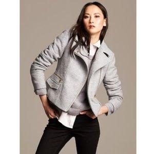 Banana Republic Boiled Wool Moto Jacket - Petite M